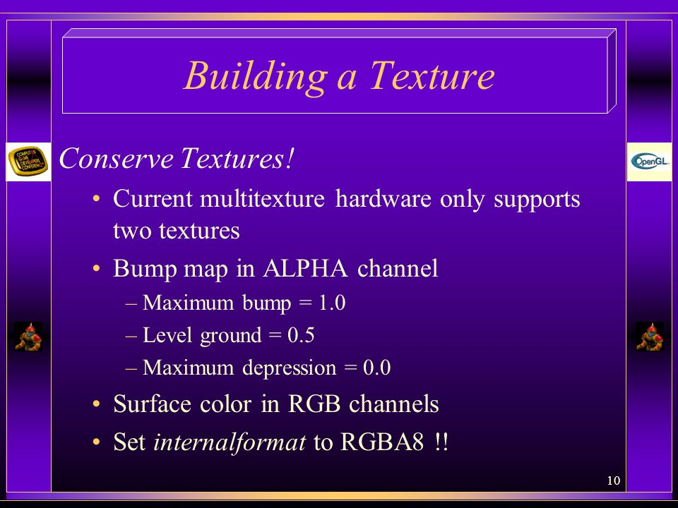 Building a Texture Conserve Textures!