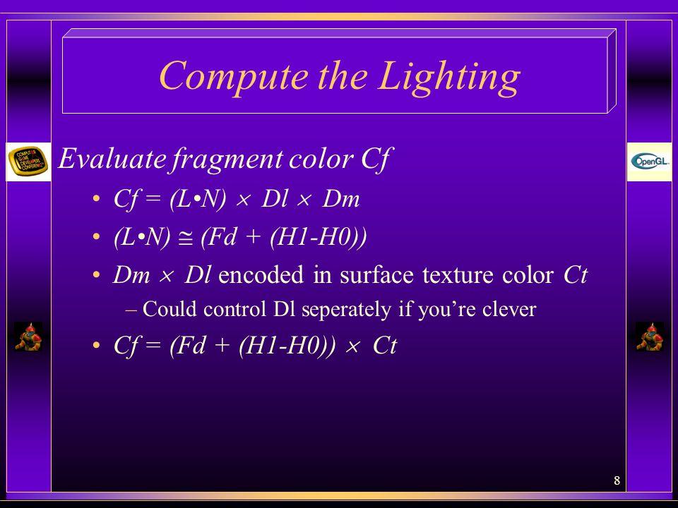 Compute the Lighting Evaluate fragment color Cf Cf = (L•N)  Dl  Dm