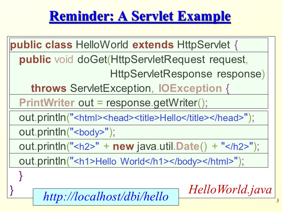 Reminder: A Servlet Example