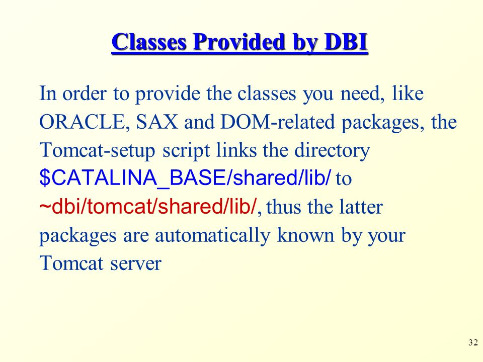 Classes Provided by DBI