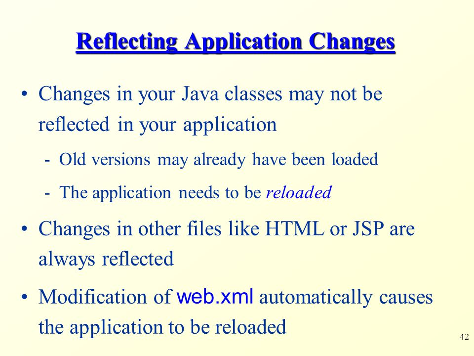 Reflecting Application Changes