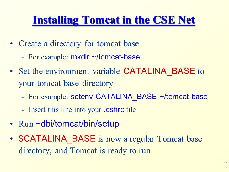 Installing Tomcat in the CSE Net