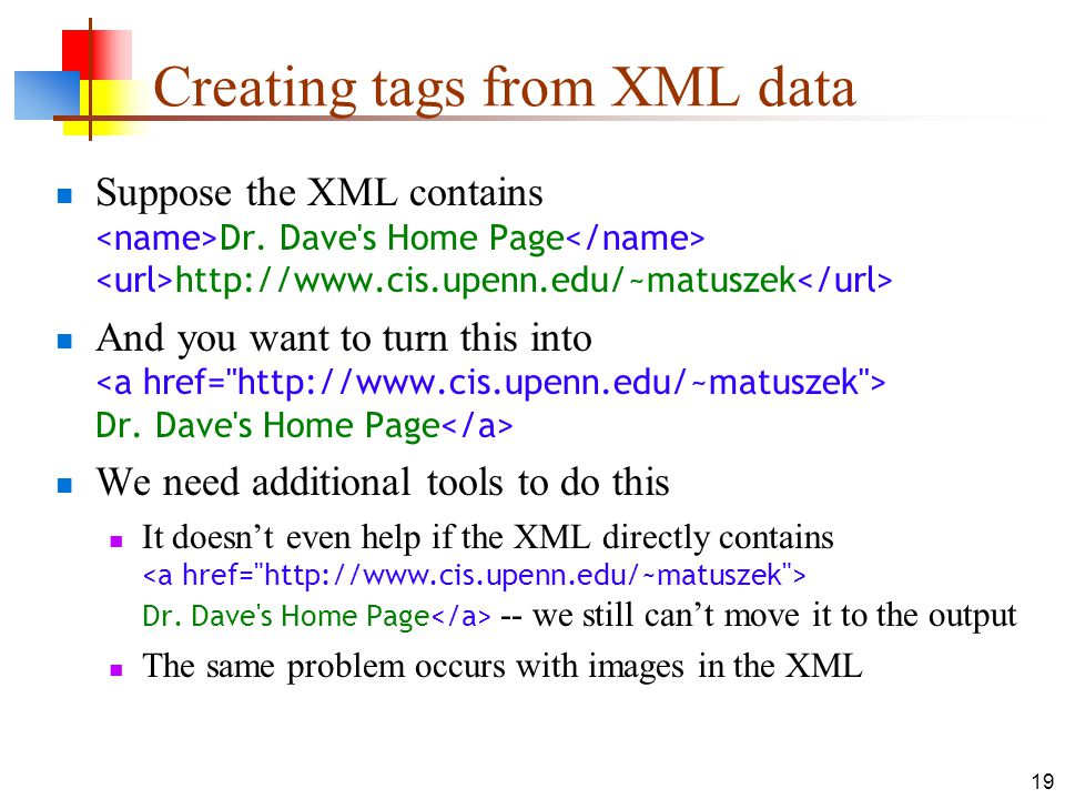 Creating tags from XML data