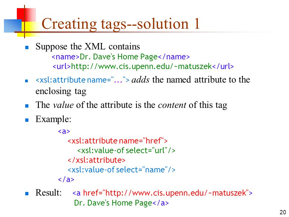 Creating tags--solution 1