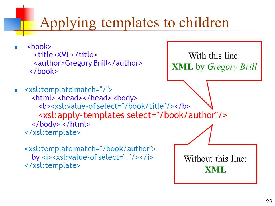 Applying templates to children