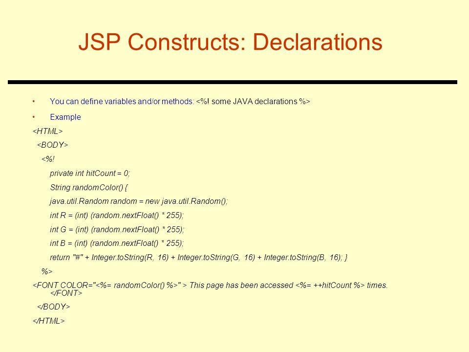 JSP Constructs: Declarations