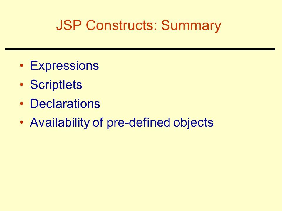 JSP Constructs: Summary