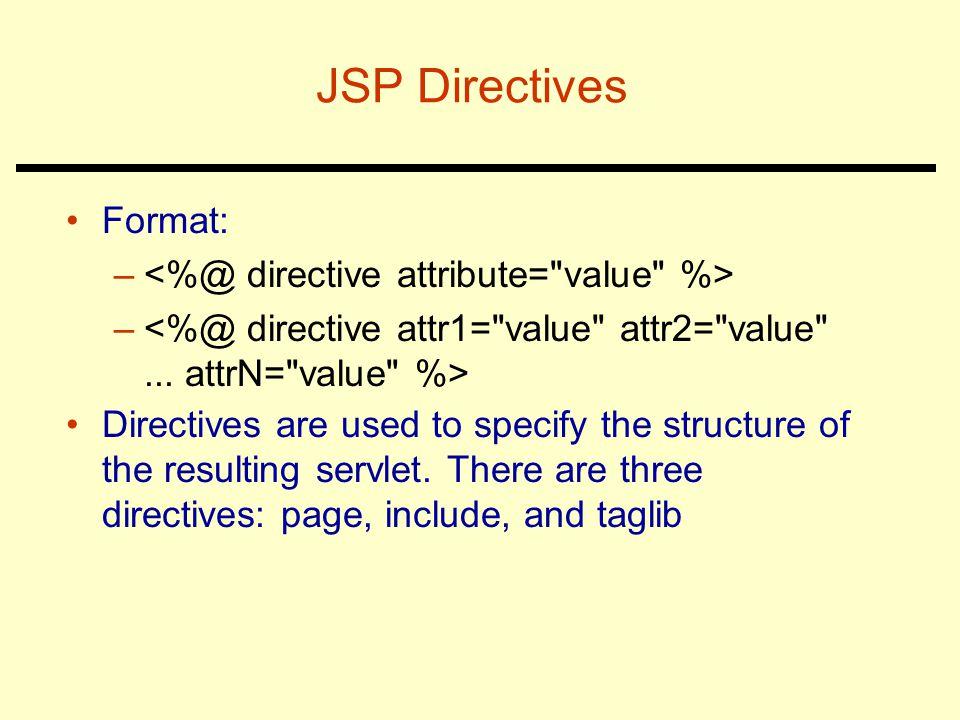 JSP Directives Format: <%@ directive attribute= value %>