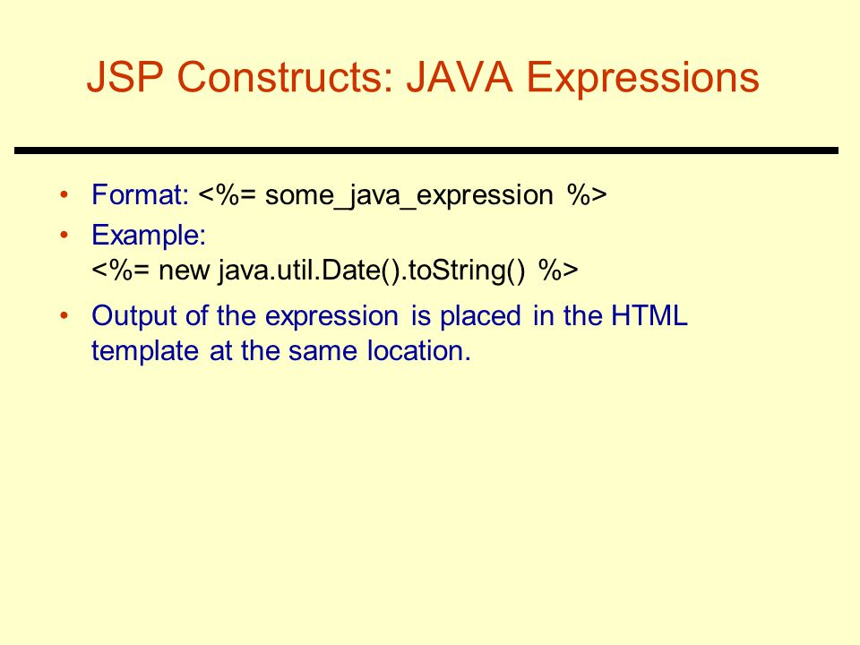 JSP Constructs: JAVA Expressions
