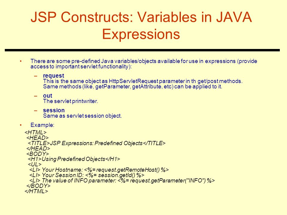 JSP Constructs: Variables in JAVA Expressions