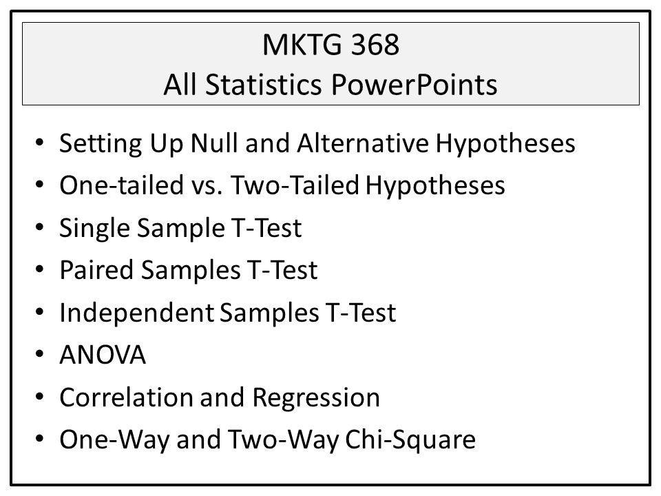 MKTG 368 All Statistics PowerPoints