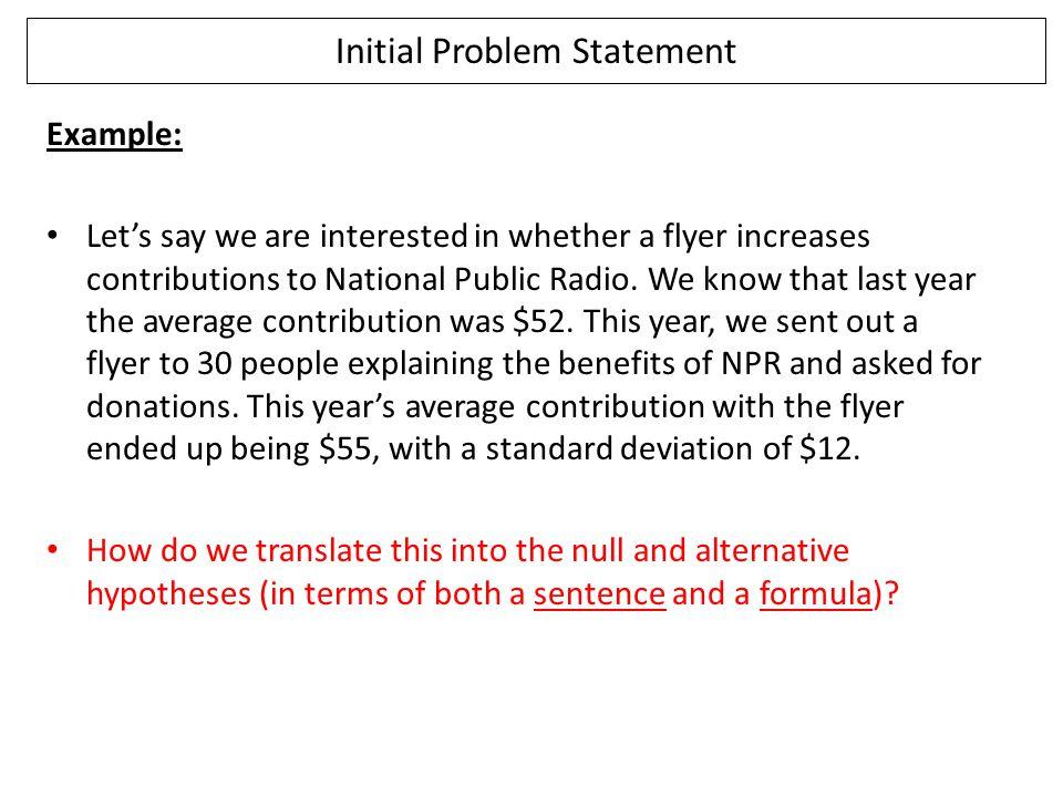 Initial Problem Statement