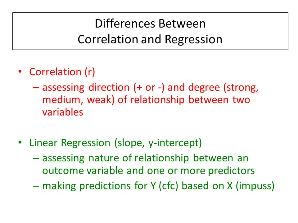 Differences Between Correlation and Regression