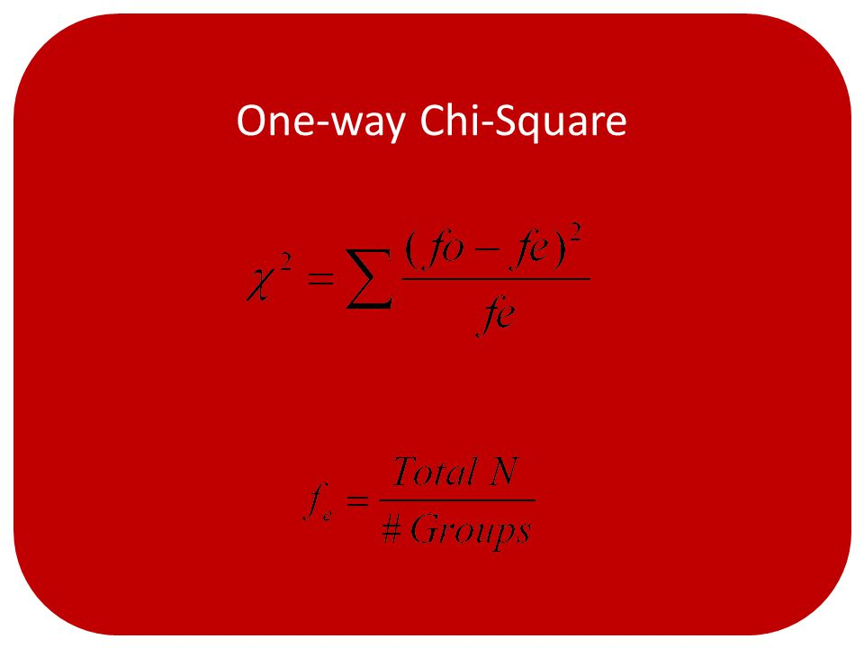 One-way Chi-Square Where…