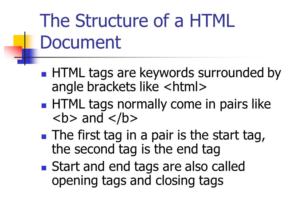The Structure of a HTML Document