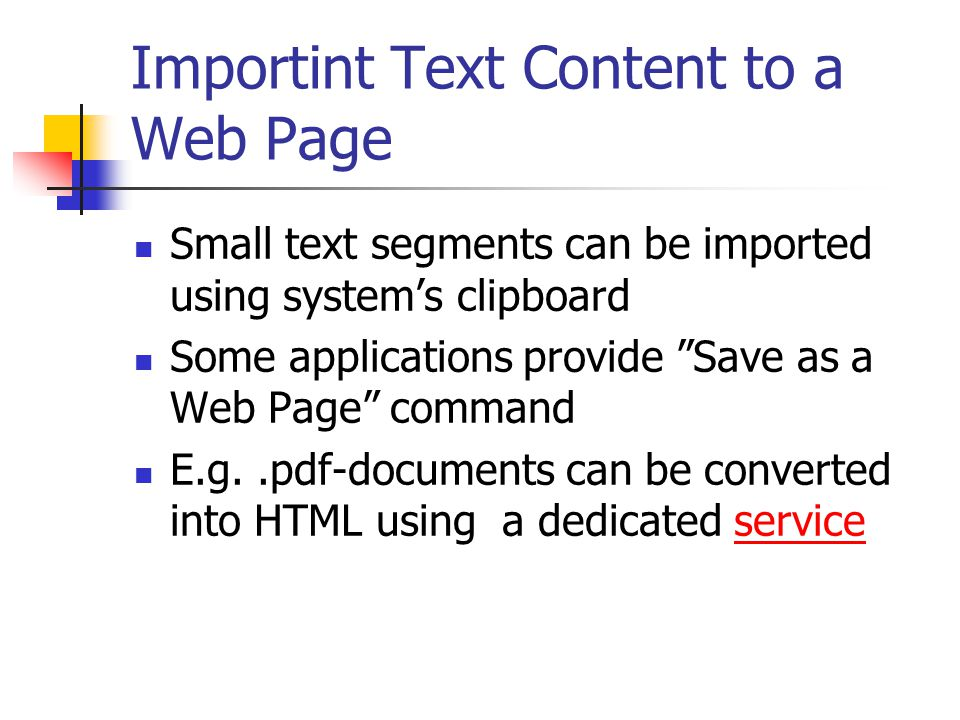 Importint Text Content to a Web Page