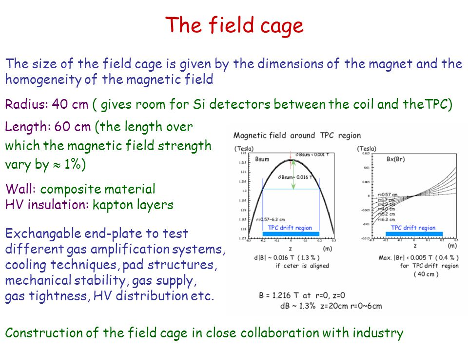 The field cage The size of the field cage is given by the dimensions of the magnet and the homogeneity of the magnetic field.