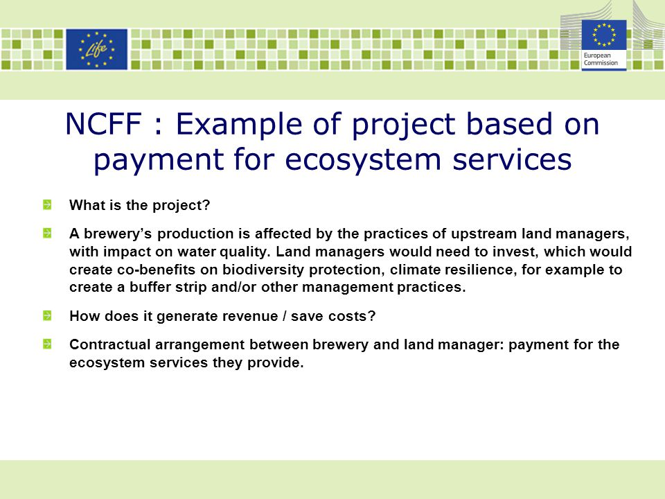 NCFF : Example of project based on payment for ecosystem services