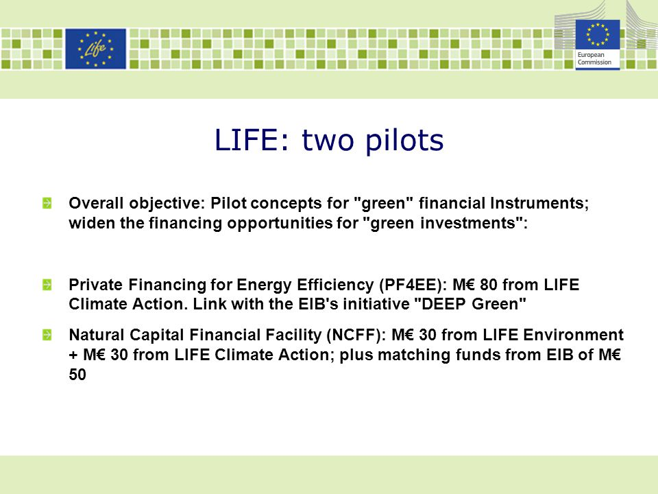 LIFE: two pilots Overall objective: Pilot concepts for green financial Instruments; widen the financing opportunities for green investments :