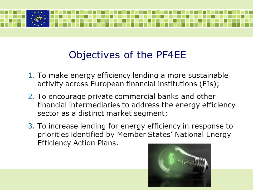 Objectives of the PF4EE To make energy efficiency lending a more sustainable activity across European financial institutions (FIs);