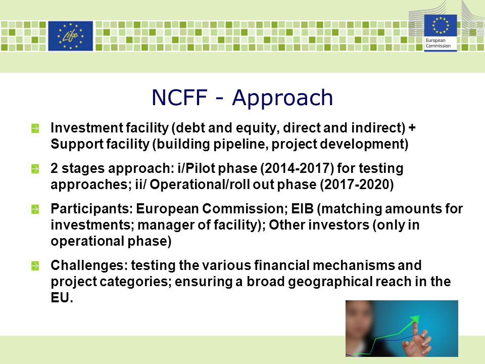 NCFF - Approach Investment facility (debt and equity, direct and indirect) + Support facility (building pipeline, project development)