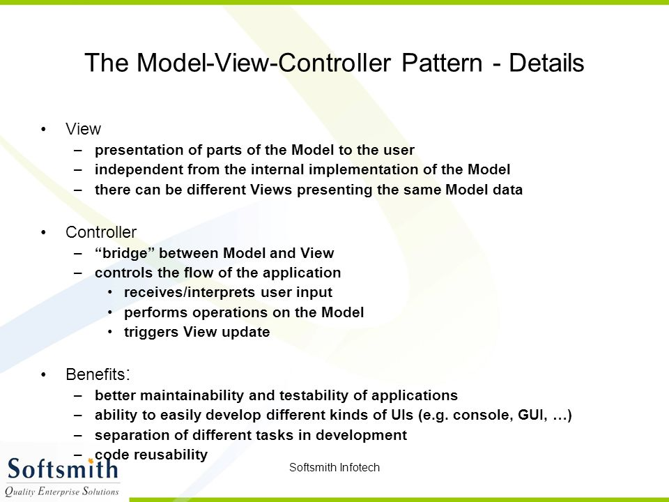 The Model-View-Controller Pattern - Details