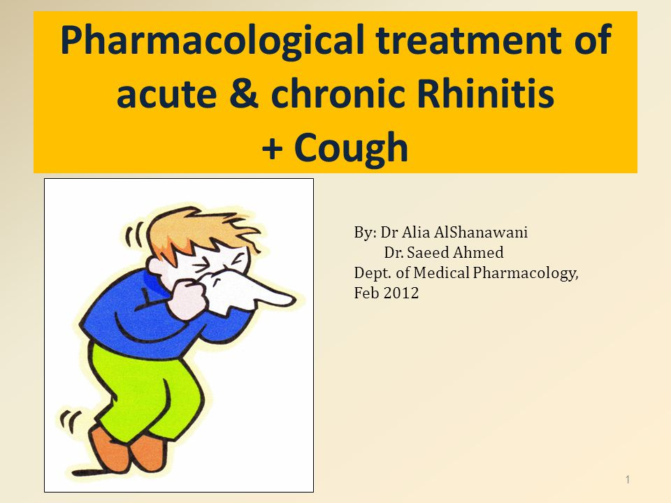 Pharmacological treatment of acute & chronic Rhinitis + Cough