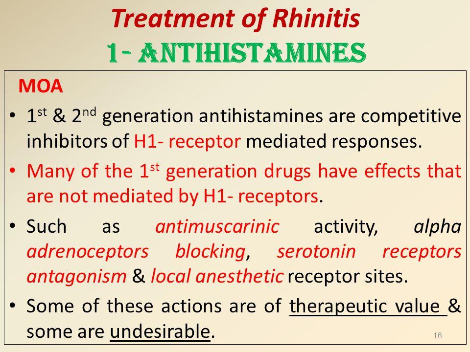 Treatment of Rhinitis 1- Antihistamines