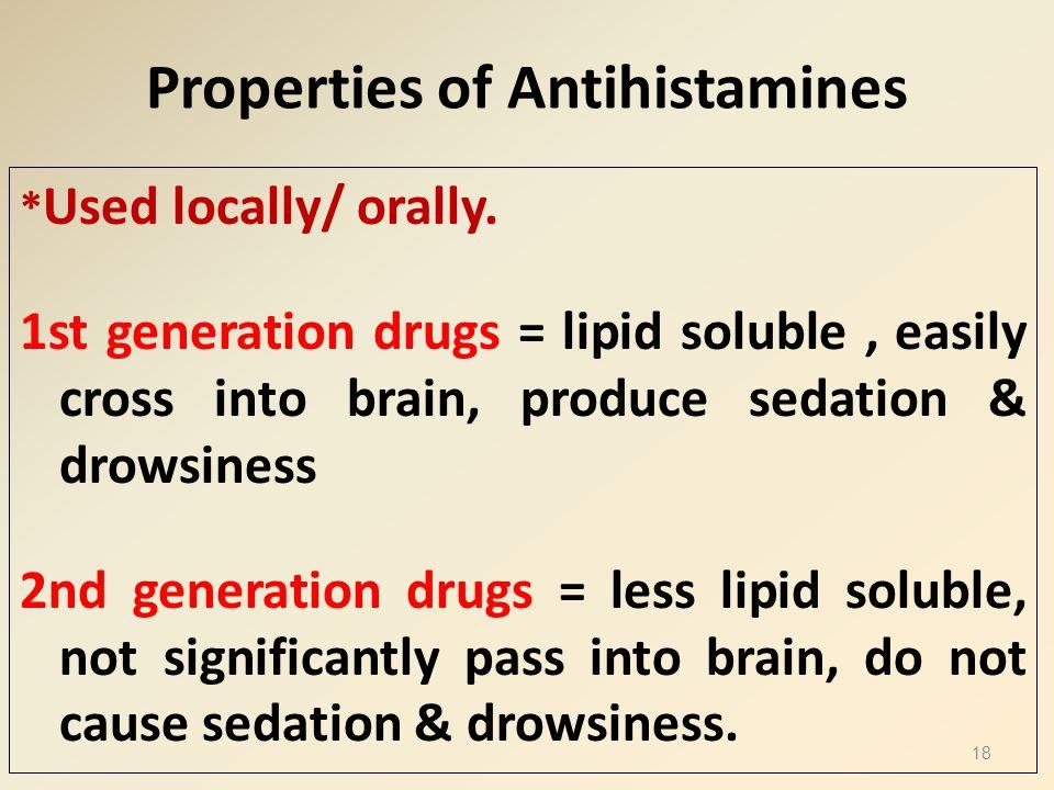 Properties of Antihistamines