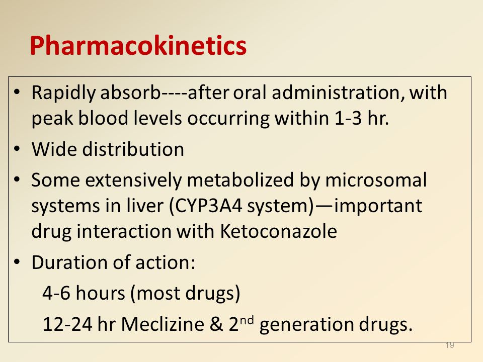 Pharmacokinetics Rapidly absorb----after oral administration, with peak blood levels occurring within 1-3 hr.