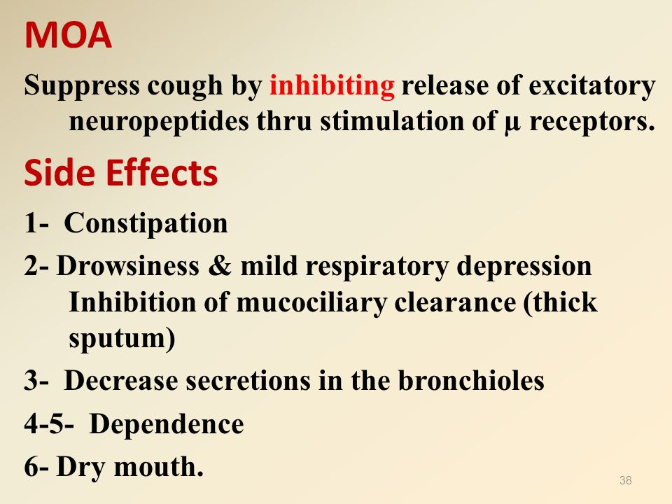 MOA Suppress cough by inhibiting release of excitatory neuropeptides thru stimulation of µ receptors.