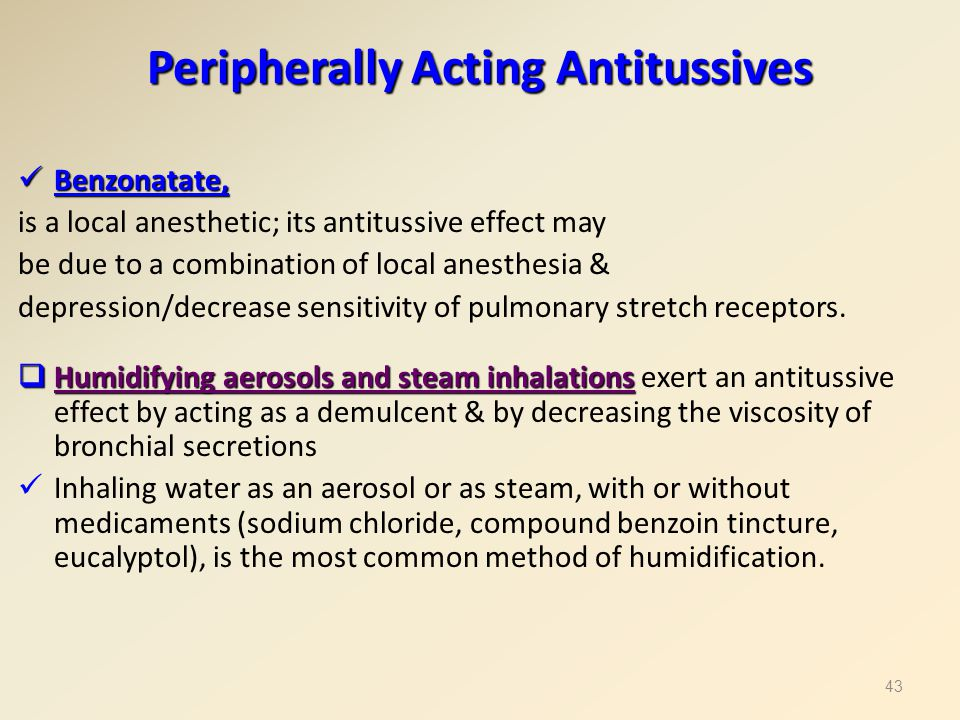 Peripherally Acting Antitussives