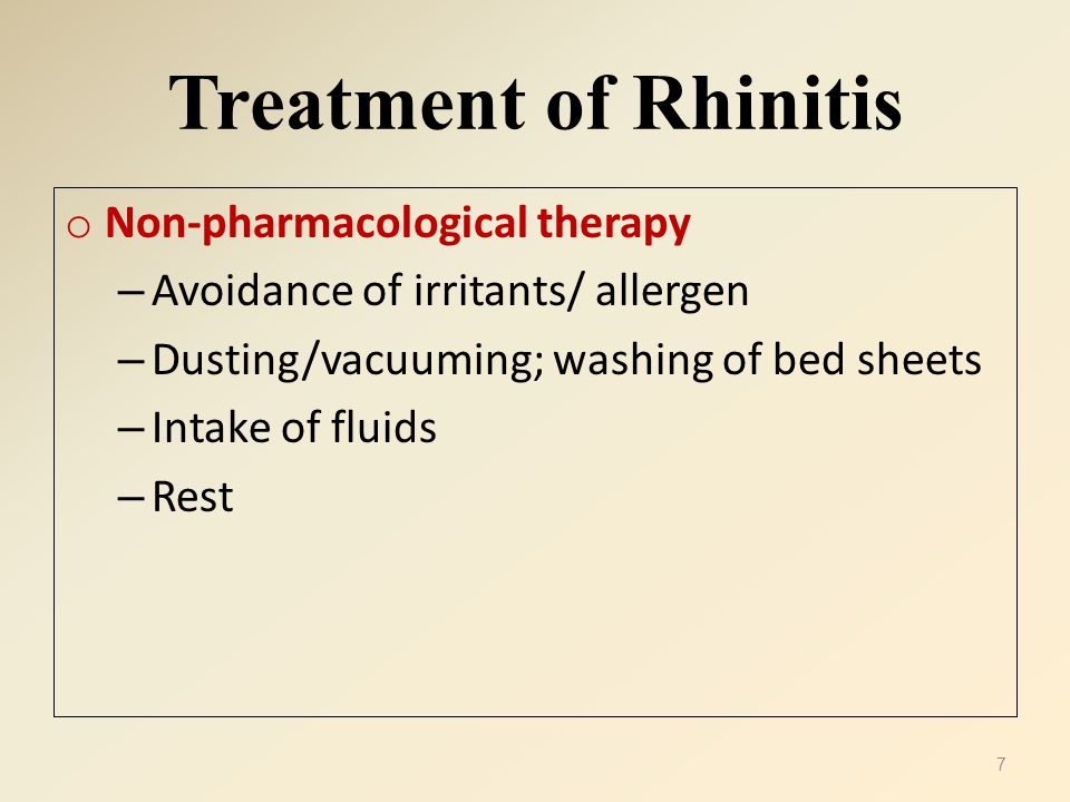Treatment of Rhinitis Non-pharmacological therapy
