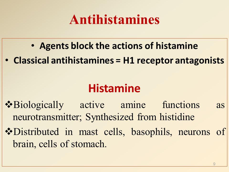 Antihistamines Histamine Agents block the actions of histamine