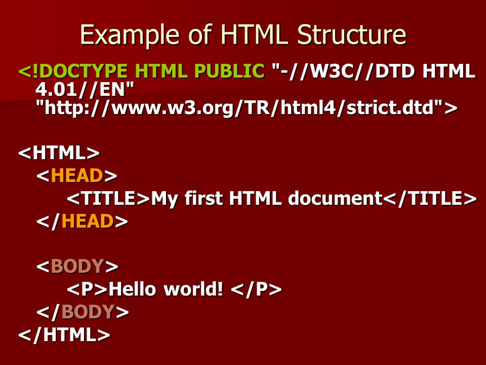 Example of HTML Structure