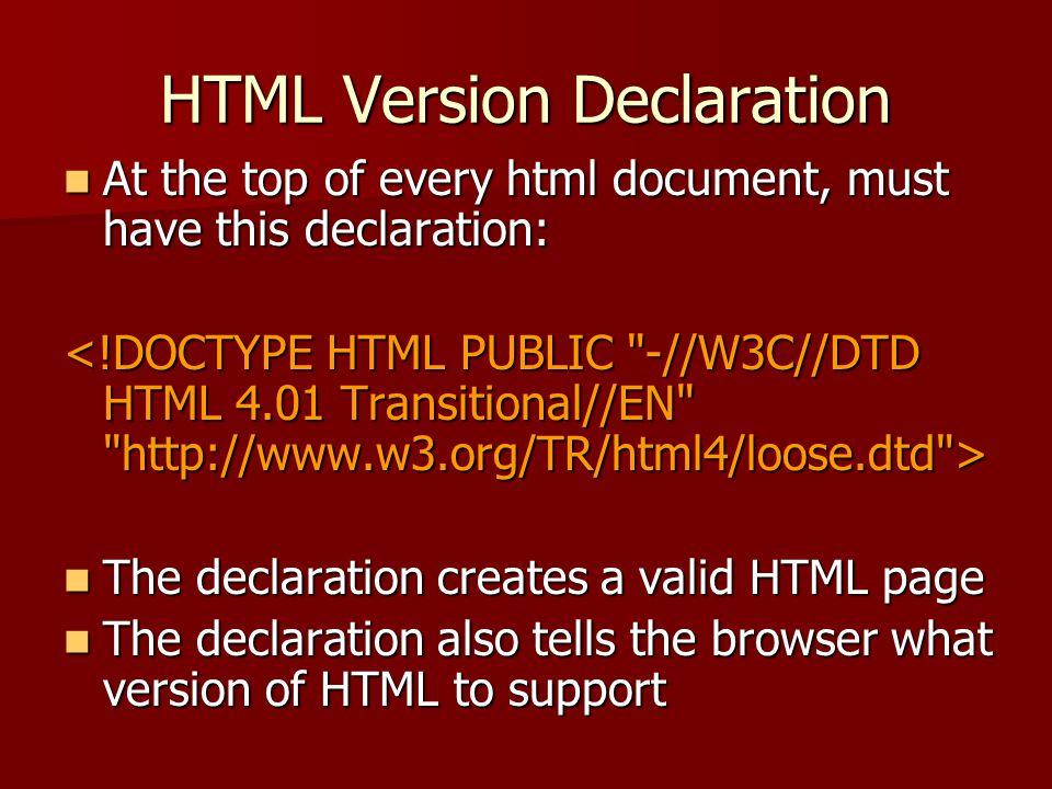 HTML Version Declaration
