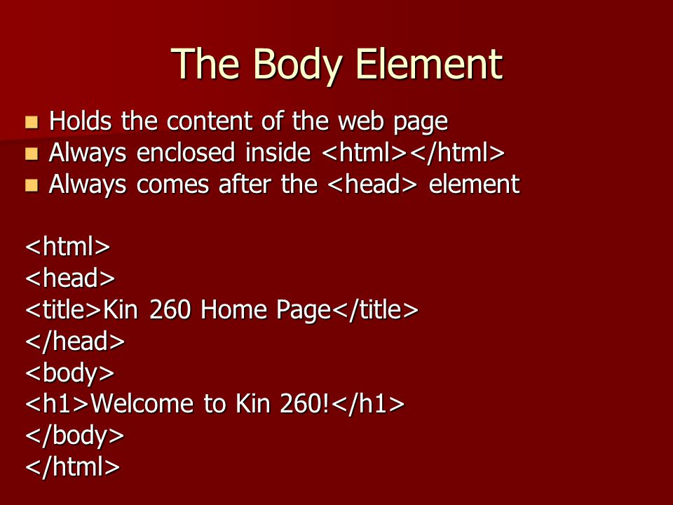 The Body Element Holds the content of the web page