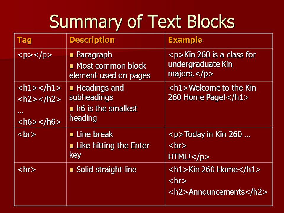 Summary of Text Blocks Tag Description Example <p></p>