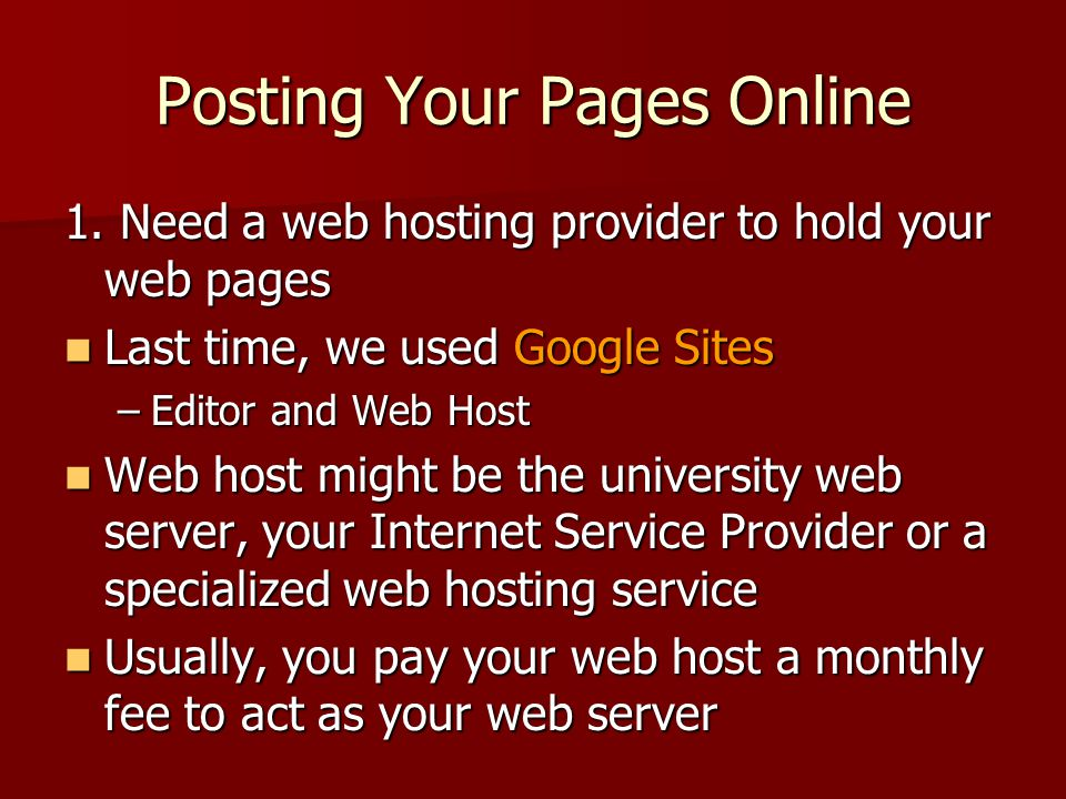 Posting Your Pages Online