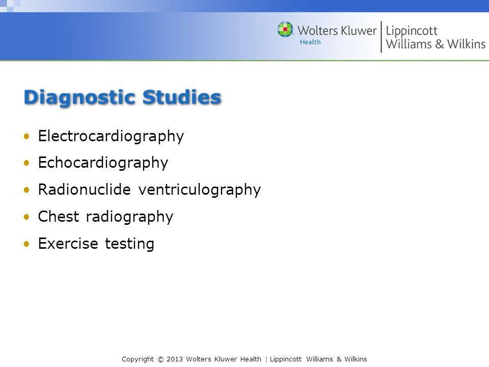 Diagnostic Studies Electrocardiography Echocardiography