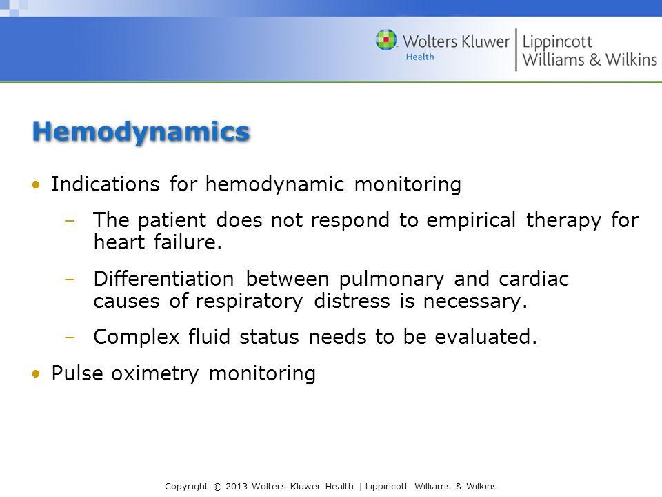 Hemodynamics Indications for hemodynamic monitoring