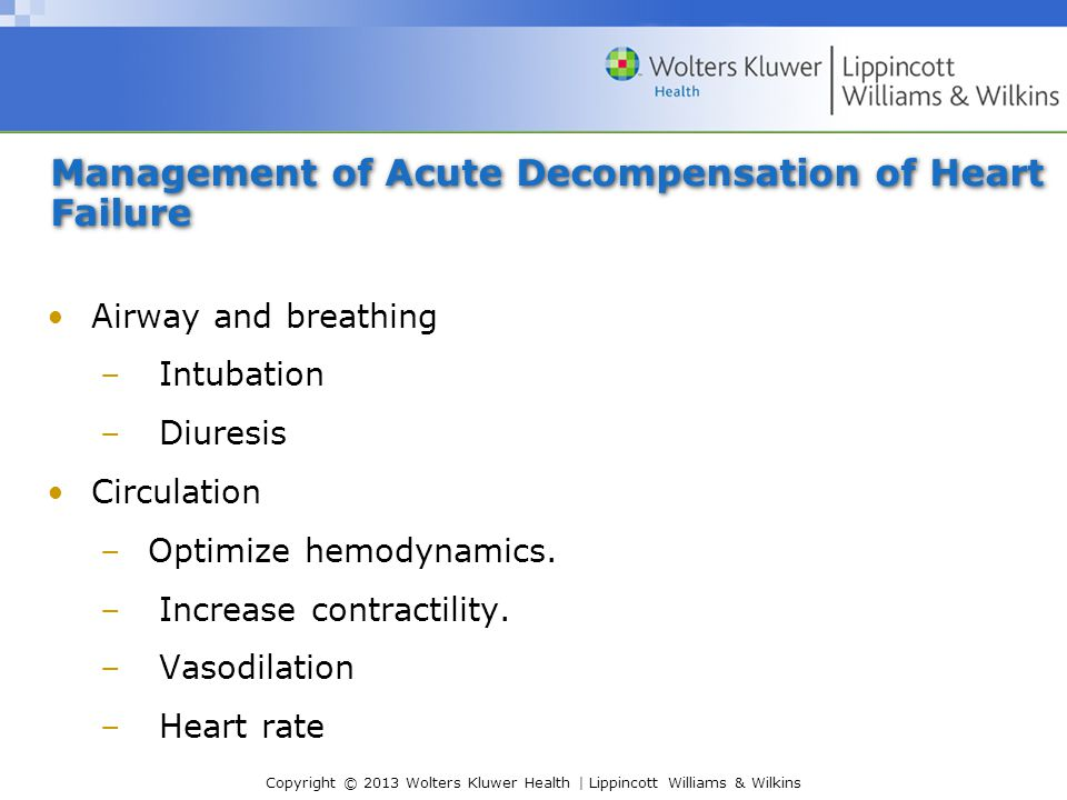 Management of Acute Decompensation of Heart Failure