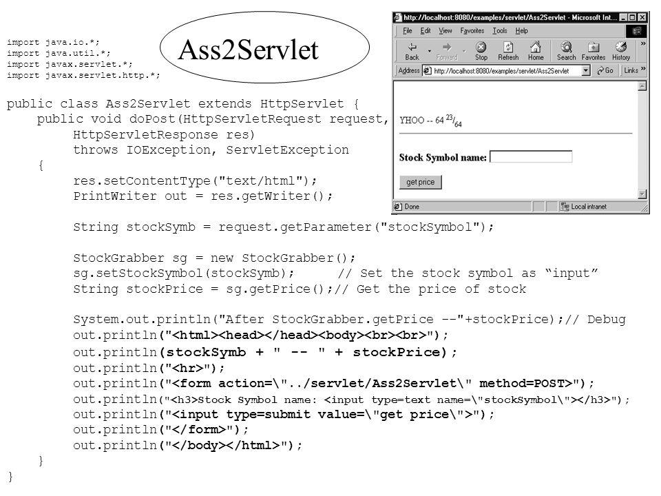 Ass2Servlet public class Ass2Servlet extends HttpServlet {