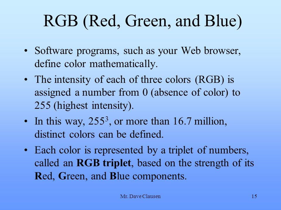 RGB (Red, Green, and Blue)