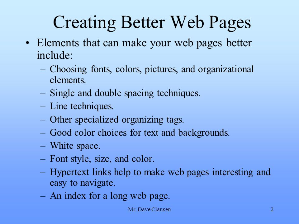 Creating Better Web Pages