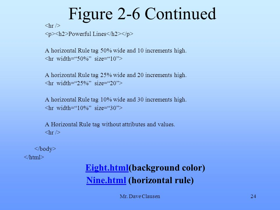 Eight.html(background color) Nine.html (horizontal rule)