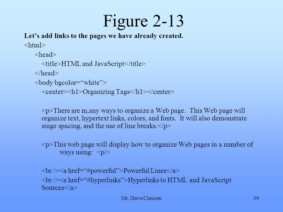 Figure 2-13 Let's add links to the pages we have already created.