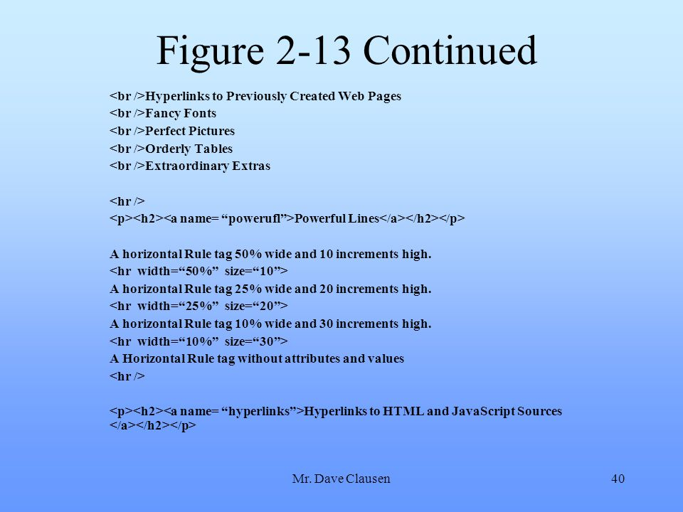 Figure 2-13 Continued <br />Hyperlinks to Previously Created Web Pages. <br />Fancy Fonts. <br />Perfect Pictures.