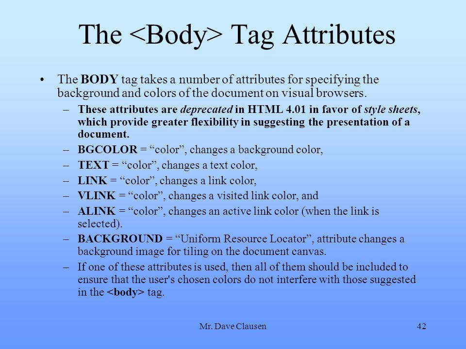 The <Body> Tag Attributes