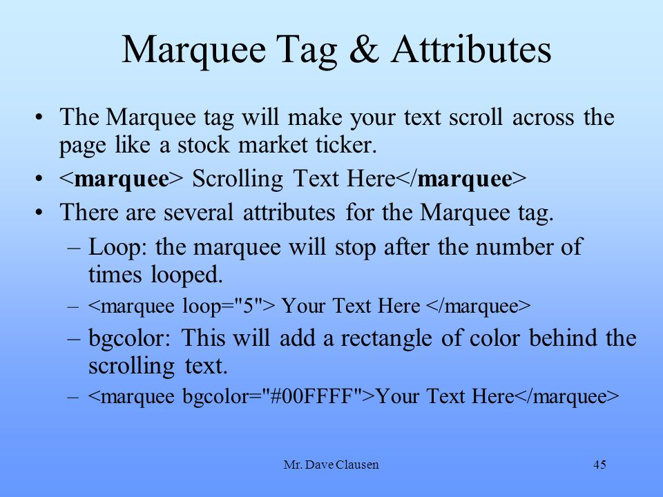 Marquee Tag & Attributes